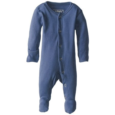 Gloved Sleeve Overall (L'ovedbaby Unisex-Baby Organic Cotton Gloved Sleeve Footed Overall, Slate, 6/9 Months )