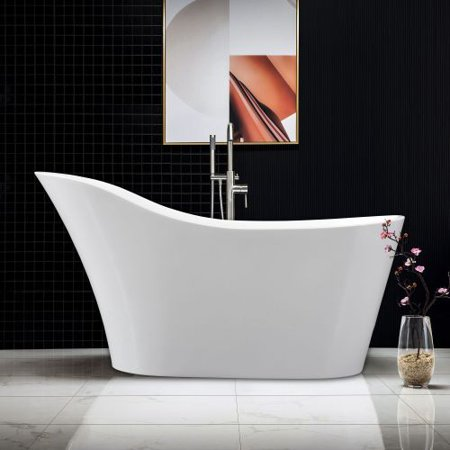 "WOODBRIDGE 59"" Modern Slipper Acrylic Freestanding Bathtub Comfortable Soaking, Brushed Nickel Drain & Overflow Assembly Included. B-0029"