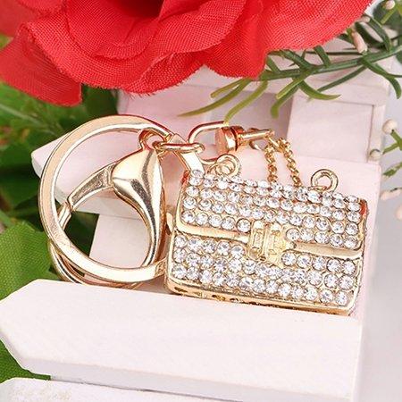 Ring Hobo Handbag Purse Bag - Micelec New Women Girl Shiny Rhinestone Handbag Purse Pendant Charm Key Ring Keychain