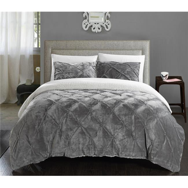 Gray Quilted Microfiber Plush Flannel Sherpa Comforter 3pc Set Full//Queen