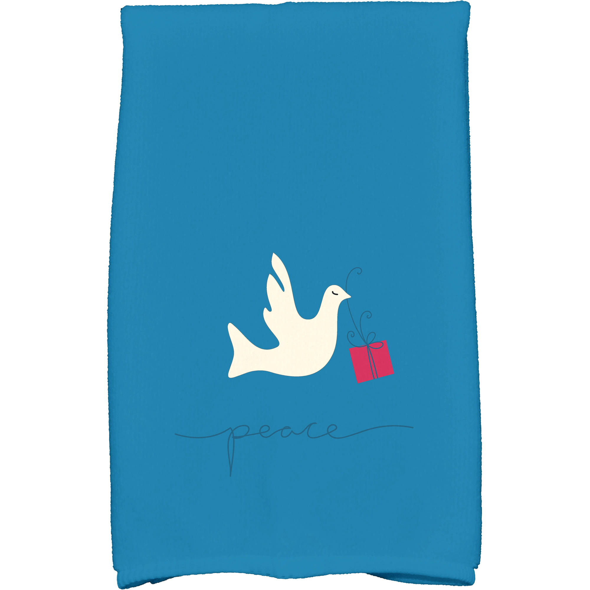 """Simply Daisy 16"""" x 25"""" Peace Dove Holiday Animal Print Kitchen Towel by E By Design"""