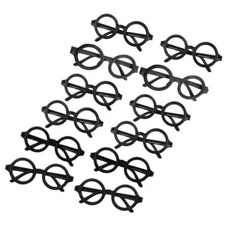 12pcs Glasses Frame Harry Potter Wizard Nerd Round Black Frame Glasses No Lenses Costume Eyewear (Black)