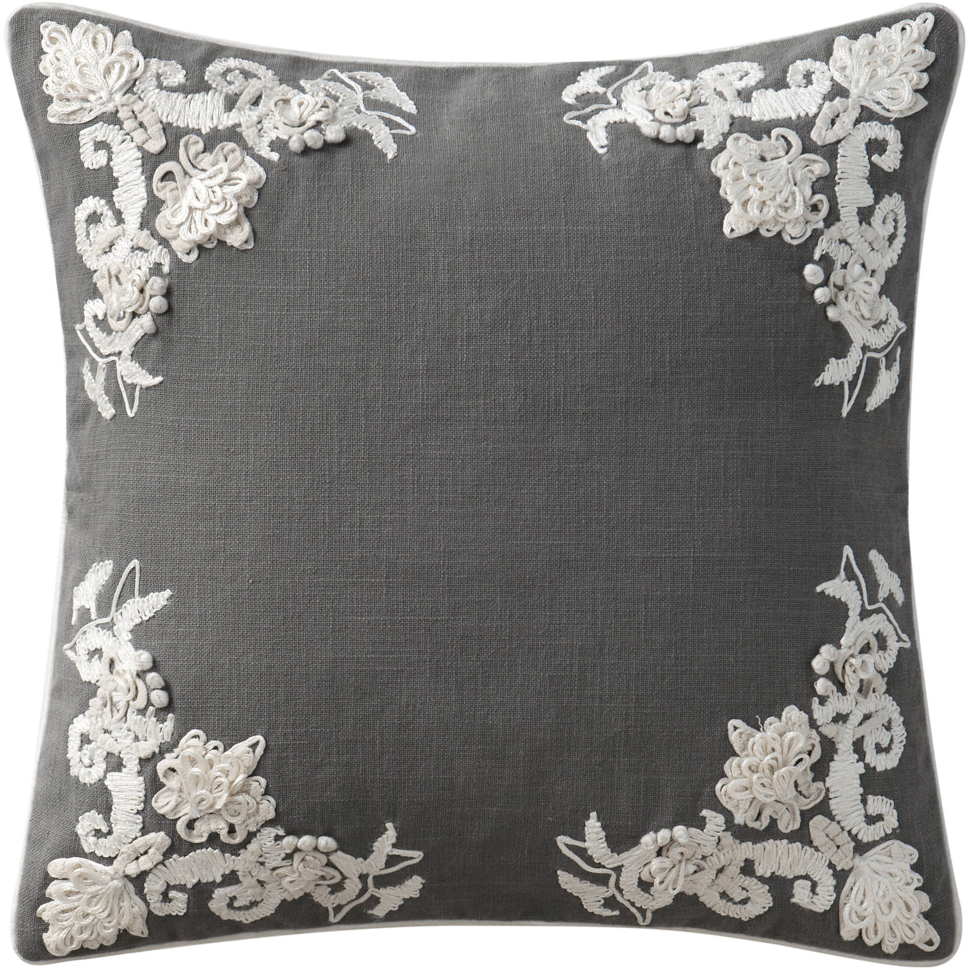 """VCNY Home Lyssa Floral Embroidered 18"""" x 18"""" Square Decorative Throw Pillow, 100 Percent Cotton"""