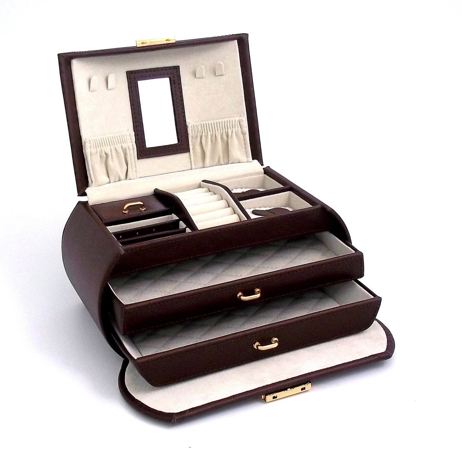 Bey Berk Brown Leather 3 Level Jewelry Box