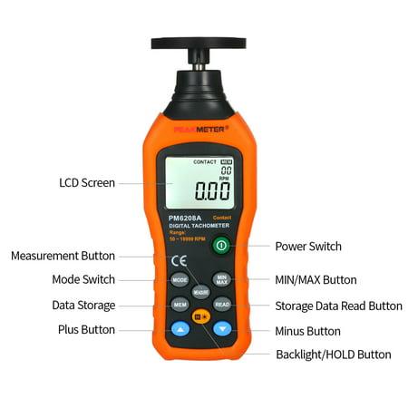 PEAKMETER Tachymètre numérique Tachymètre avec moteur à contact à cristaux liquides Compteur de vitesse LCD Compteur de vitesse tachymètre Compteur tachymètre numérique à contact large Plage de mesure - image 2 of 7