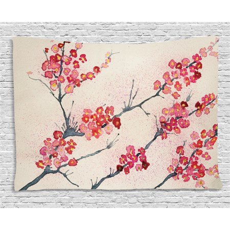 Floral Decor Tapestry, Asian Theme Cherry Blossoms Sakura Eastern Old Style Painting Like Print, Wall Hanging for Bedroom Living Room Dorm Decor, 80W X 60L Inches, Pink Beige Gray, by Ambesonne - Asian Wall Decor