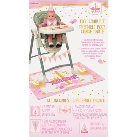 Pink and Gold Girls First Birthday High Chair Decorating Kit, 4pc - 1st Birthday Games