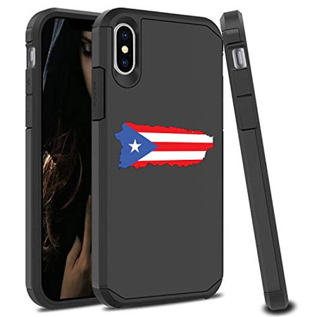Shockproof SI Impact Hard Soft Case Cover Protector for Apple iPhone Puerto Rico Puerto Rican Flag (Black, for Apple iPhone XR)