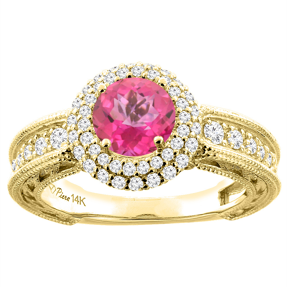 14K Yellow Gold Natural Pink Topaz & Diamond Halo Ring Round 6 mm, size 6 by Gabriella Gold