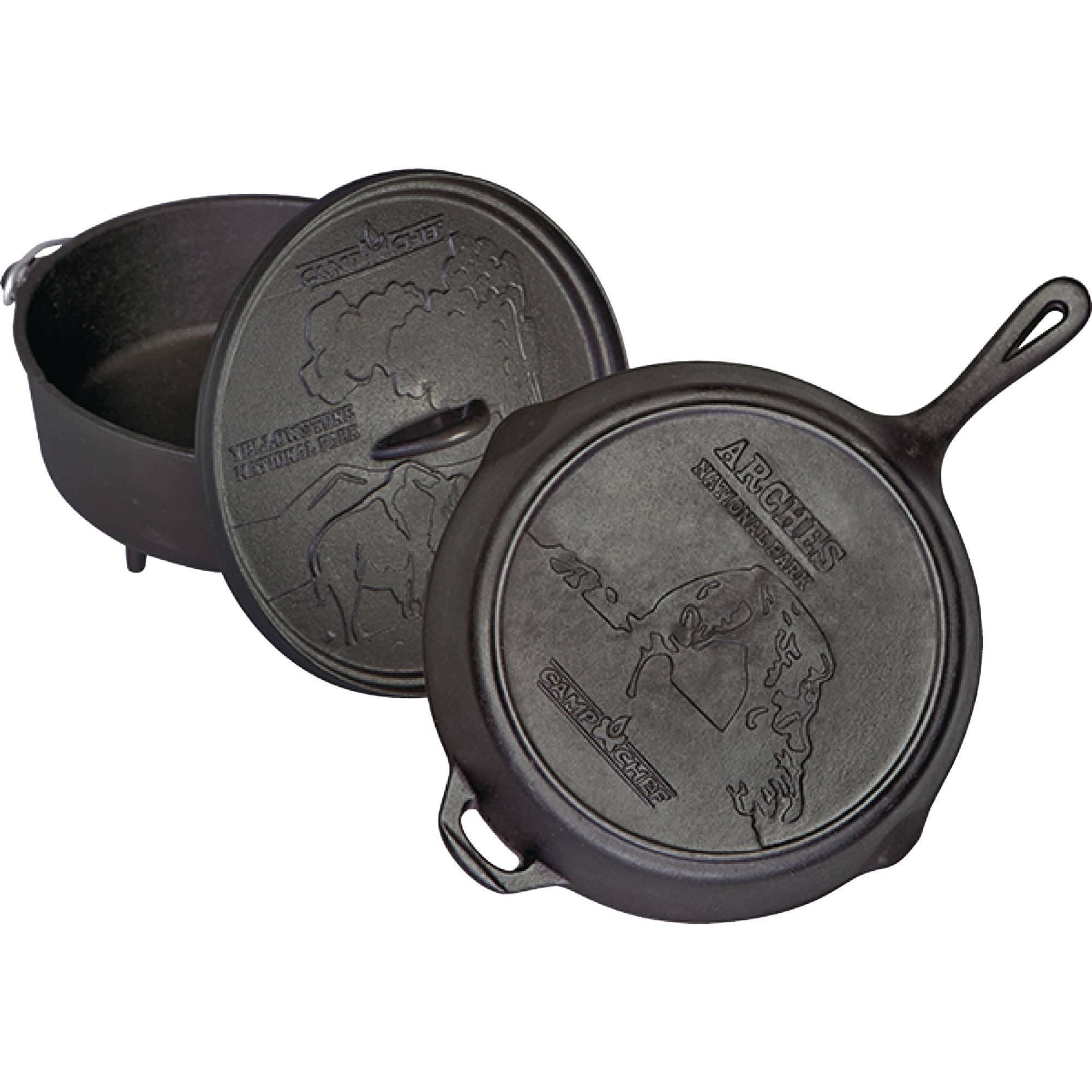 "Camp Chef CBOX100 National Parks 12"" Dutch Oven, 12"" Iron Skillet and Interchangeable Lid Cast Iron Set"
