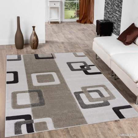 Allstar Ivory Modern Geometric Formal square design Area Rug (7' 9