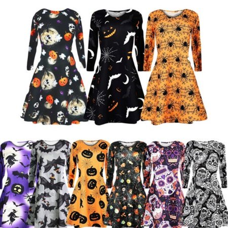 Retro Women Long Sleeve Halloween Vintage O-Neck Pumpkin Bat Spider Skull Mini Dresses (Skull Dress For Women)