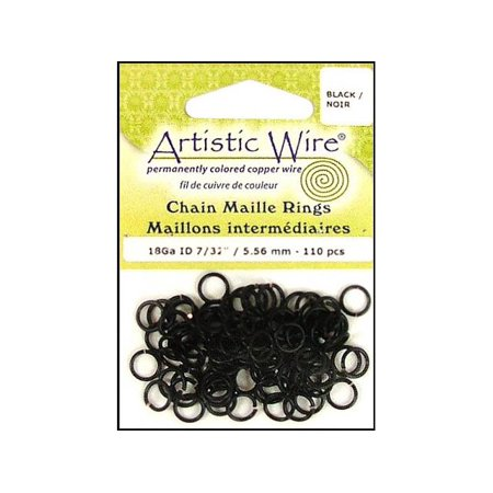 Artistic Wire, Chain Maille Jump Rings, 18 Ga / ID 5.56mm / 110pc, Black Color - Wire Rings