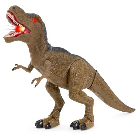 Best Choice Products 21in Kids Walking Tyrannosaurs Rex Dinosaur T-Rex Toy w/ Light-Up Eyes, Roaring and Stomping Sounds - Brown - Dino Rex