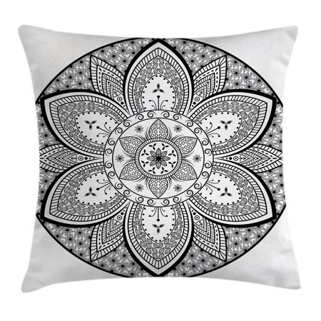 Ethnic Throw Pillow Cushion Cover, Mandala Indian Tribal Design Leaves Flowers Ivy Swirls Dots Artwork Image Print, Decorative Square Accent Pillow Case, 20 X 20 Inches, Black and White, by - Tribal Flowers