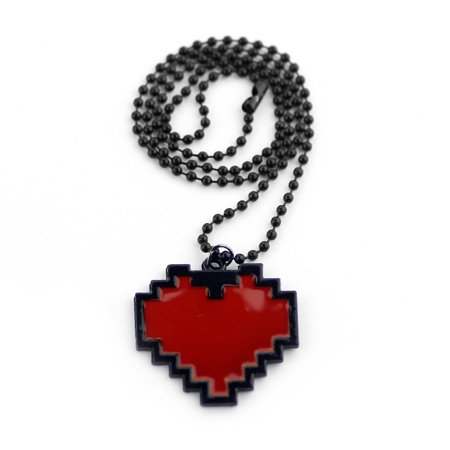 Red Heart Pixel Necklace Undertale Cosplay Costume Game Jewelry Frisk Chara Gift ()