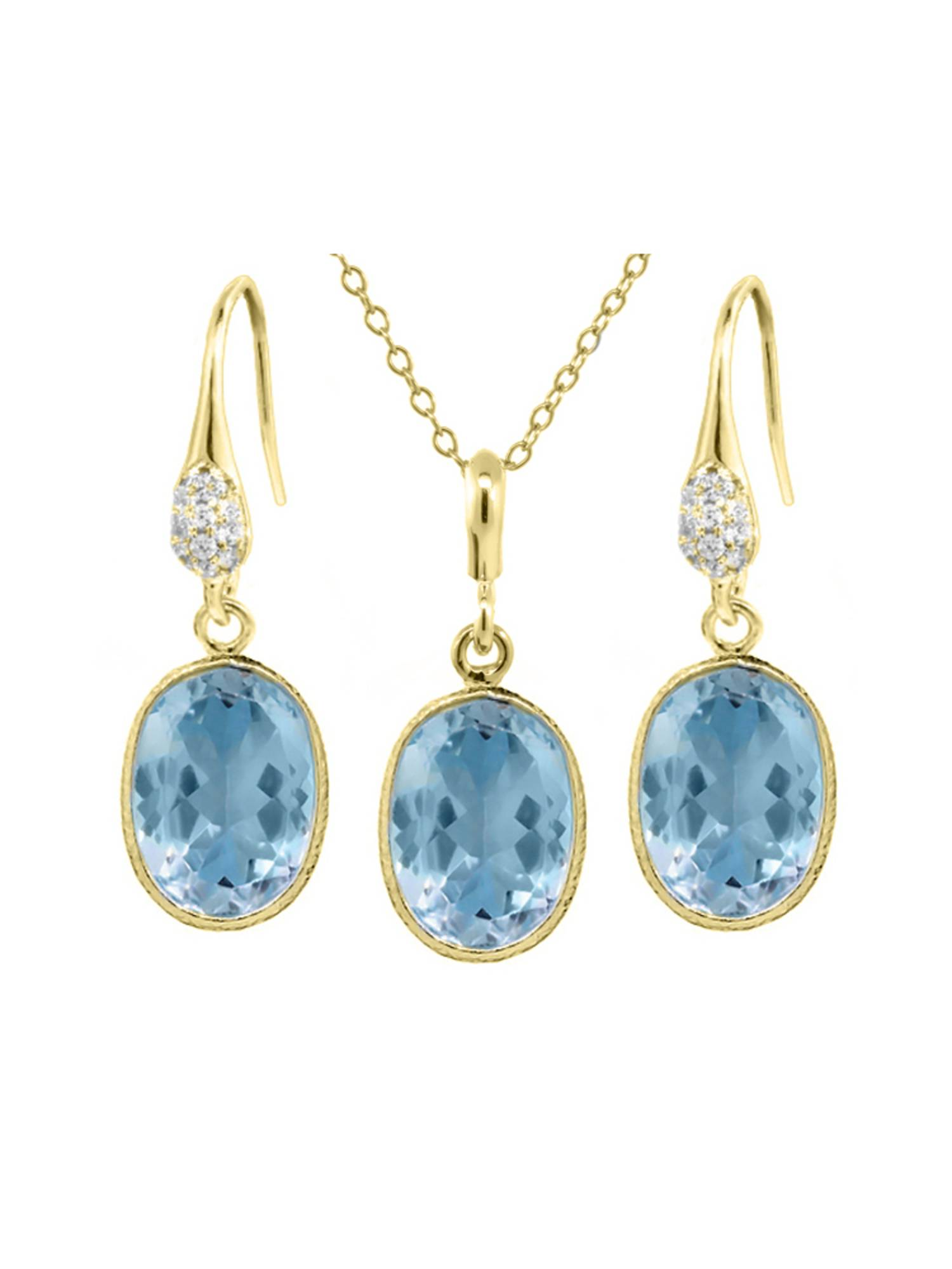 """21.00 Ct Blue Topaz 14x10mm Oval Shape Gold Plated Silver Jewelry Set 18"""" Chain"""