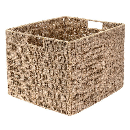 Villacera Rectangle Hand Weaved Wicker Baskets made of Water Hyacinth | Nesting Natural Seagrass Bins | Set of 2