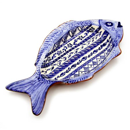 Hand-painted Vintage Traditional Portuguese Terracotta Large Fish Shape Platter