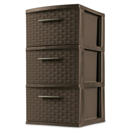 3 Drawer Panel - Sterilite 3 Drawer Weave Tower, Espresso