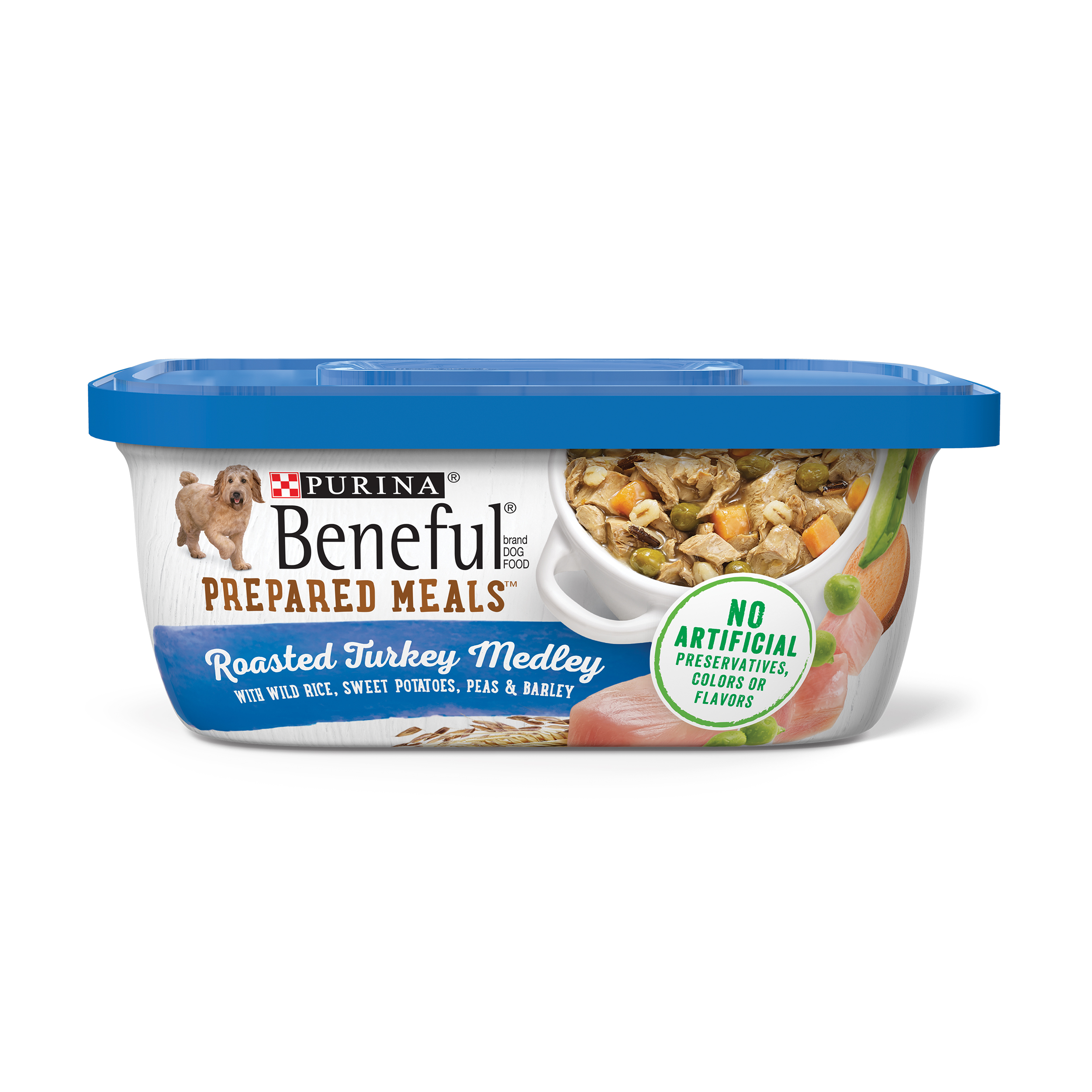 Purina Beneful Prepared Meals Roasted Turkey Medley With Wild Rice, Sweet Potatoes, Peas & Barley Adult Wet Dog Food - 10 oz. Tub