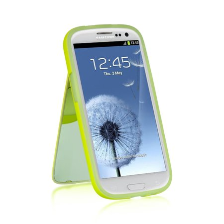 Samsung Galaxy S3 Case, by Insten Stand TPU Rubber Candy Skin Case Cover For Samsung Galaxy S3 GT-i9300 ()