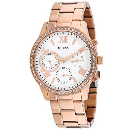 Guess Solar Quartz Movement White Dial Ladies Watch W1069L3 Guess Logo Dial Watch