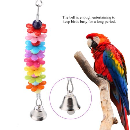 Ejoyous Pet Bird Parrot Colorful Beads Bell String Toys Chewing Swing Cage  Accessory, Parakeet Toy, Birds Toy