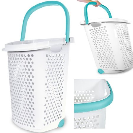 Rolling Hamper (2.0-Bu. Rolling Hamper in White (1, White), Hole pattern on all sides for superior ventilation Pop-up handle Built-in wheels for easy mobility By Home Logic From)