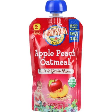 Earths Best Baby Food - Organic - Fruit And Grain Puree - Pouch - Age 6 Months Plus - Stage 2 - Apple Peach Oatmeal - 4.2 Oz - Pack of