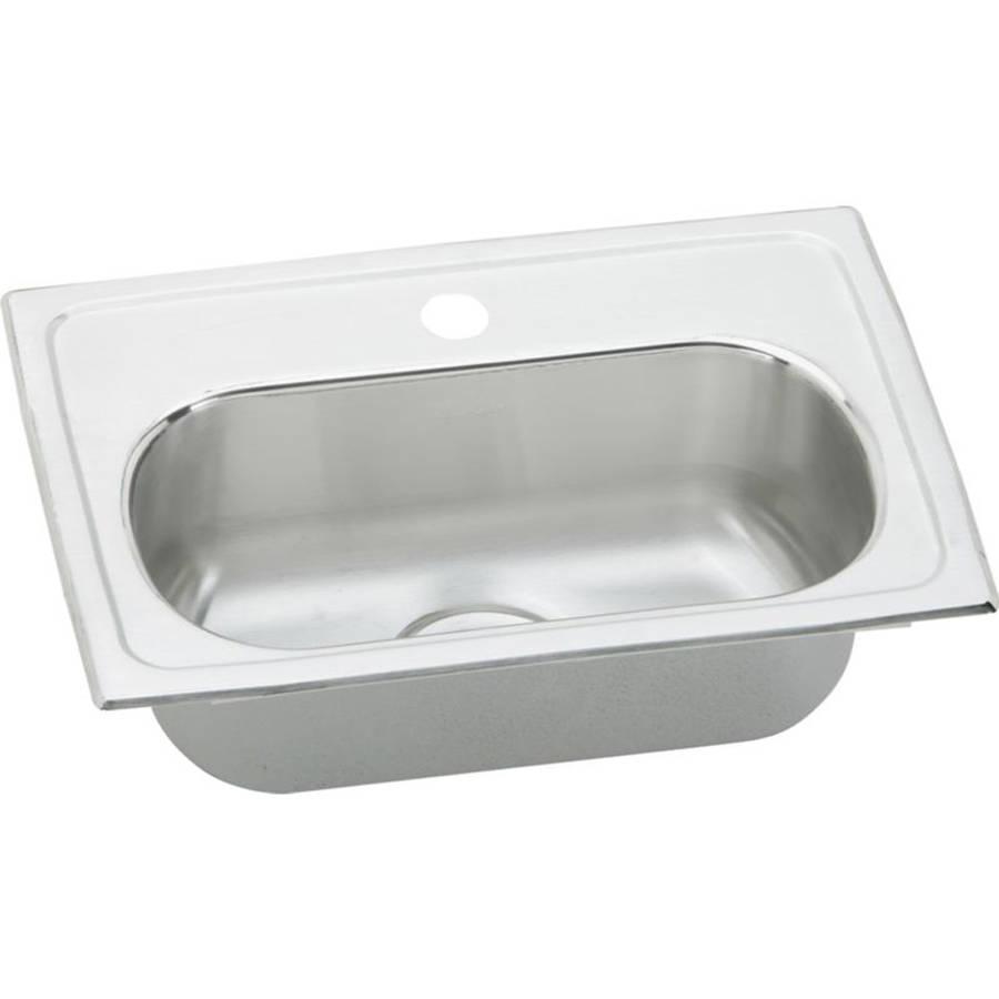 Elkay LMR20132 Gourmet Lustertone Stainless Steel Single Bowl Top Mount Bar Sink with 2 Faucet Holes