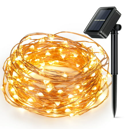 Solar Powered Christmas String Light, Kohree 100 Micro LEDs Light String With 33ft Long Ultra Thin String Copper Wire (Glass Solar String Lights)