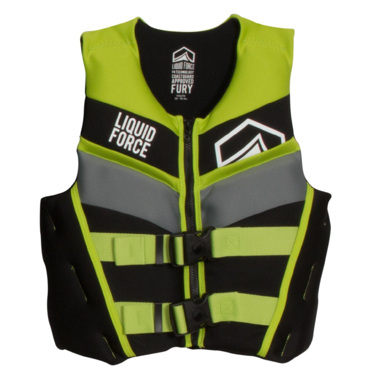 Liquid Force 2018 Fury CGA Youth Vest (Black/Green) Kid's...