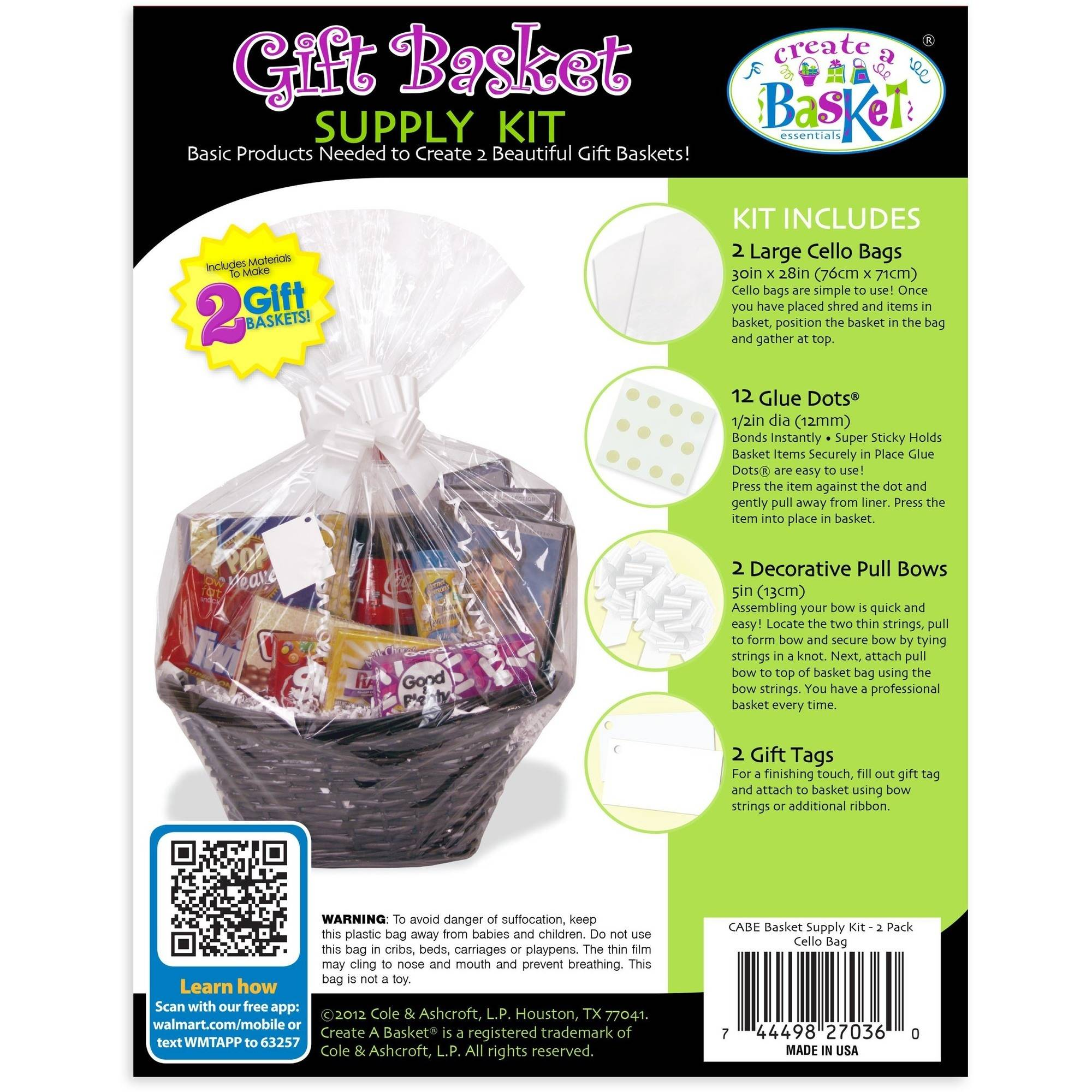 Create-A-Basket Essentials Gift Basket Supply Kit, White