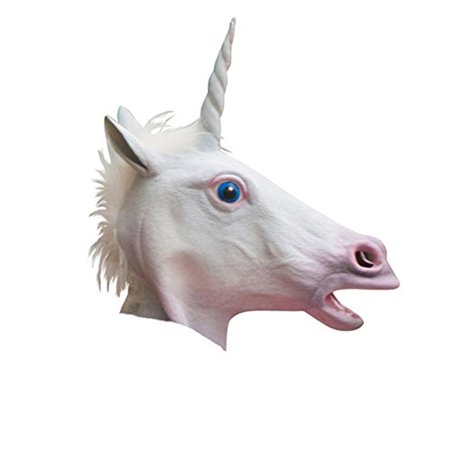 White Latex Magical Unicorn Mask With Faux Fur](Snow White Witch Mask)