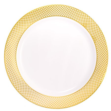 (Kaya Collection - Disposable White with Gold Diamond Rim Plastic Round 10.25