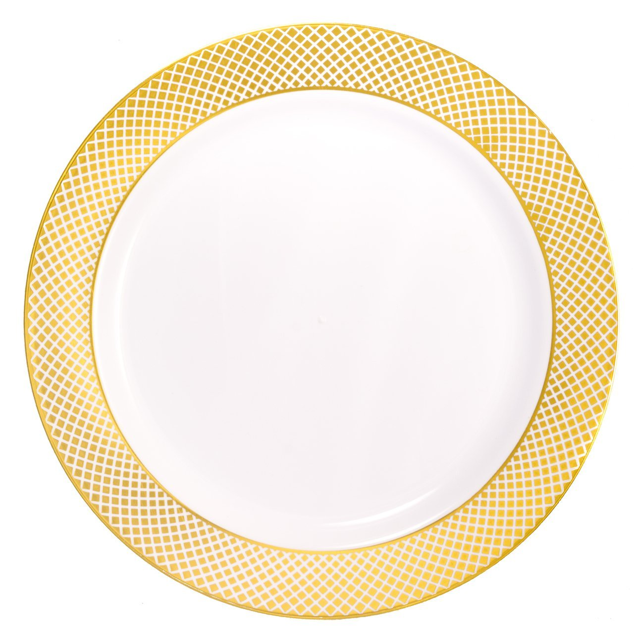 "Kaya Collection - Disposable White with Gold Diamond Rim Plastic Round 10.25"" Dinner Plates (20 Plates)"