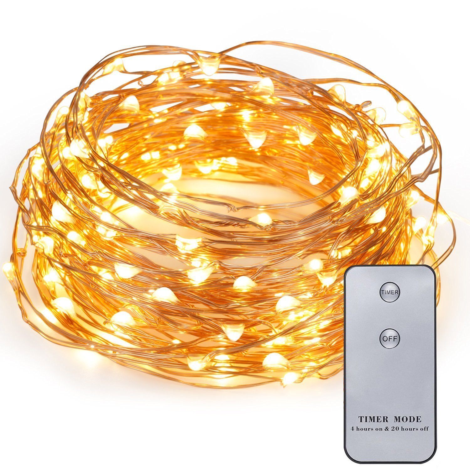 Kohree 120 LED Battery Operated String Light 20ft Copper Wire Waterproof Design Decor Rope Lights with Remote Control