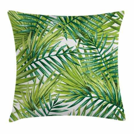 (Plant Throw Pillow Cushion Cover, Watercolor Tropical Palm Leaves Colorful Illustration Natural Feelings, Decorative Square Accent Pillow Case, 18 X 18 Inches, Fern Green Lime Green, by Ambesonne)