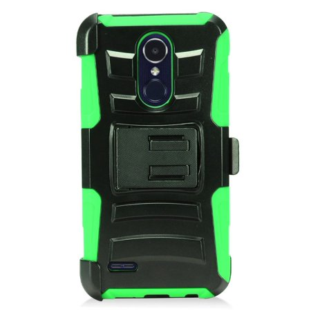 For LG Aristo 2 / LG Tribute Dynasty / LG K8 (2018) / LG Fortune 2 / LG Zone 4 (2018) Case Advanced Armor Hybrid Soft Silicone Phone Cover Kick Stand w/ Holster (Black/Green)