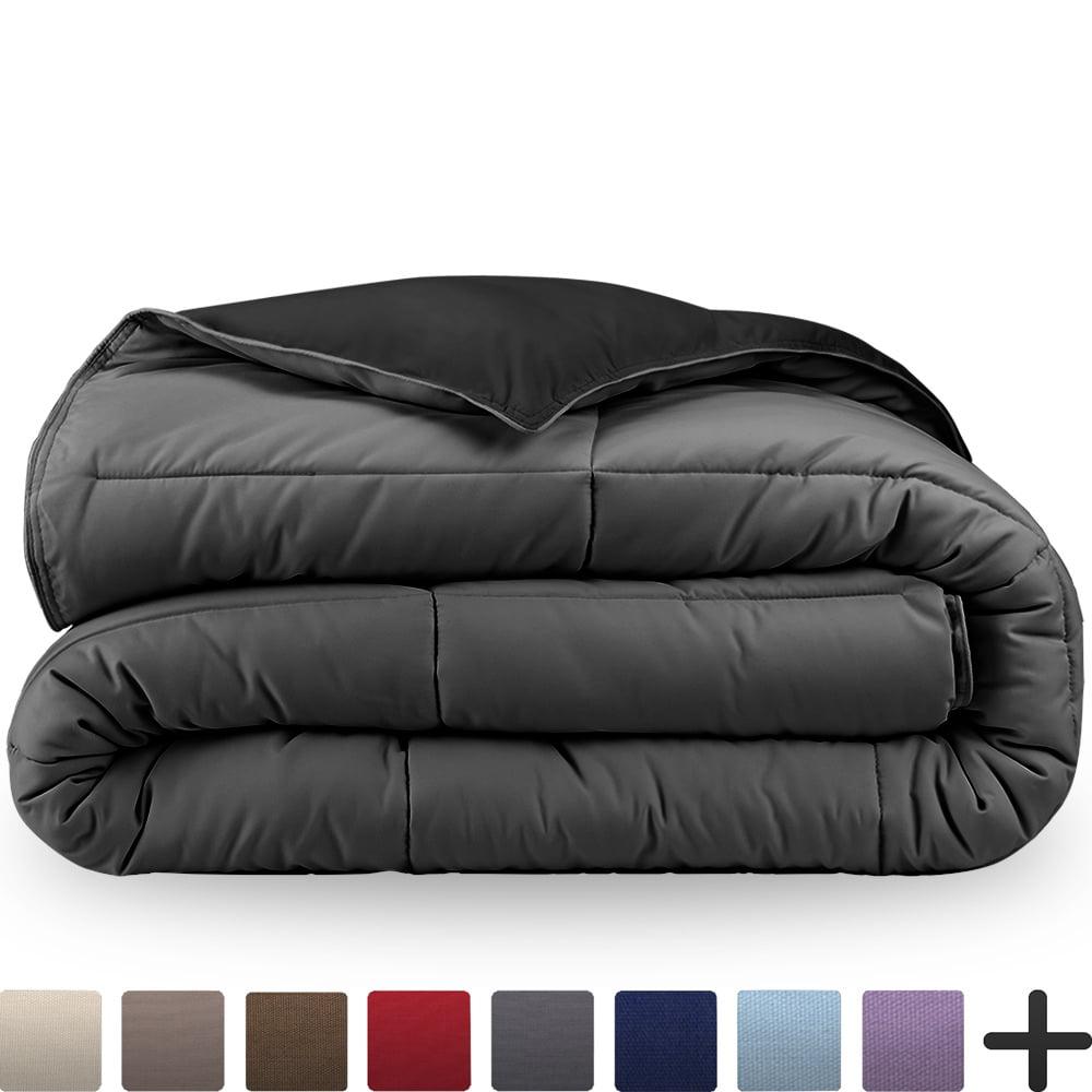 Ultra-Soft Premium 1800 Series Goose Down Alternative Reversible Comforter - Hypoallergenic - All Season - Plush Fiberfill, Twin Extra Long (Full/Queen, Cocoa/Taupe)