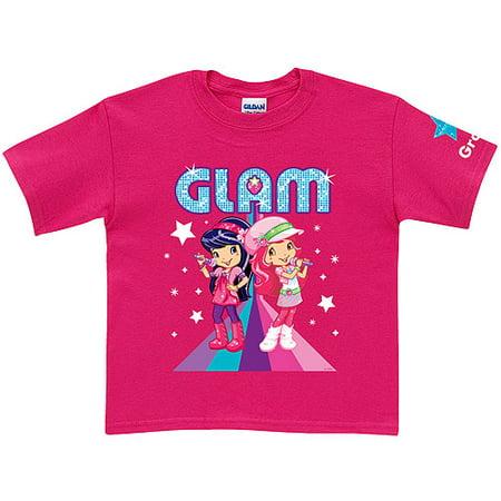 Personalized Strawberry Shortcake and Cherry Jam Glam Hot Pink Girls' T-Shirt (Strawberry Shortcake Cherry Jam)