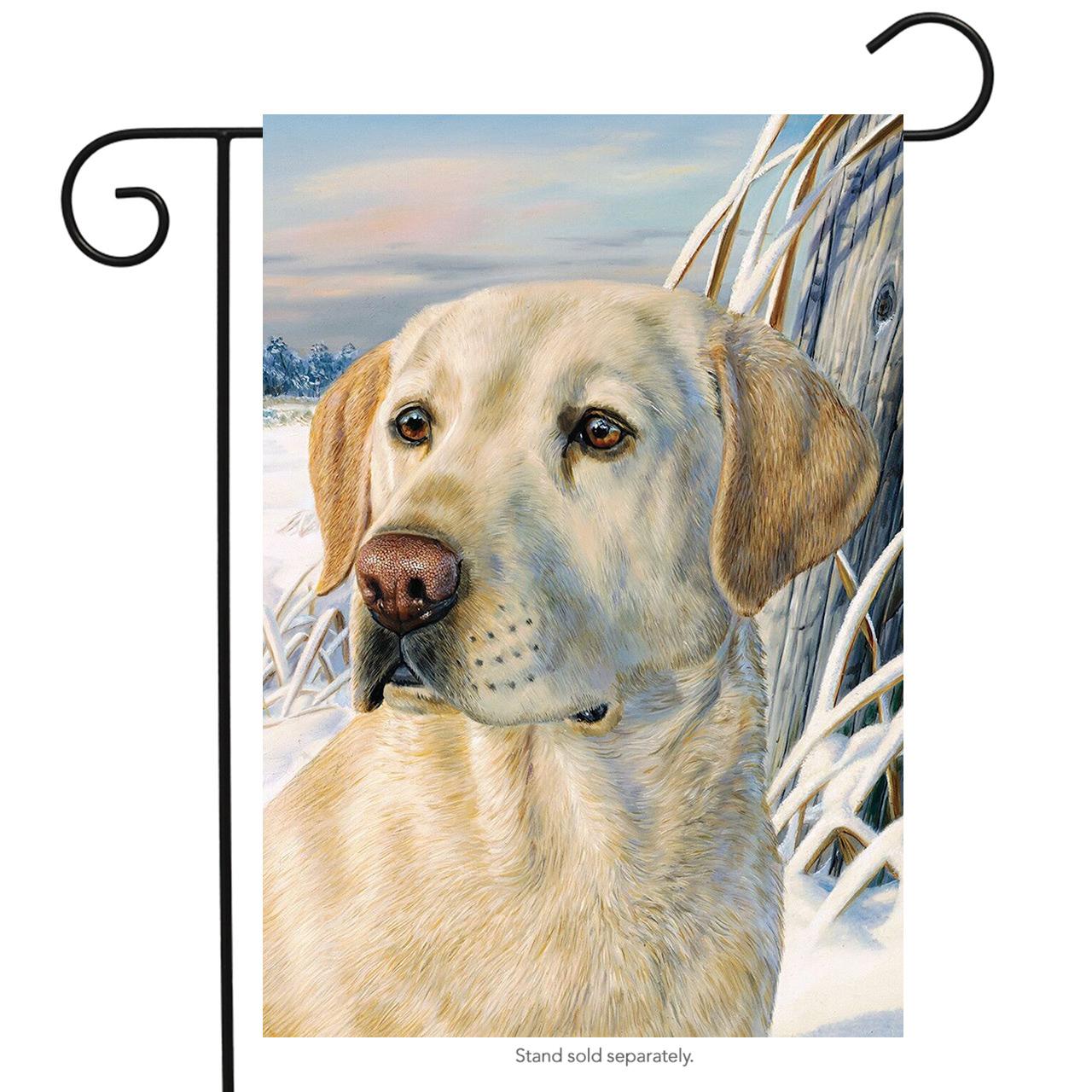 "winter lab garden flag yellow labrador seasonal dog 12.5"" x 18"" briarwood lane"
