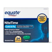 Equate NiteTime Cold & Flu Multi Symptom Acetaminophen Softgels, 325 mg, 24 Ct
