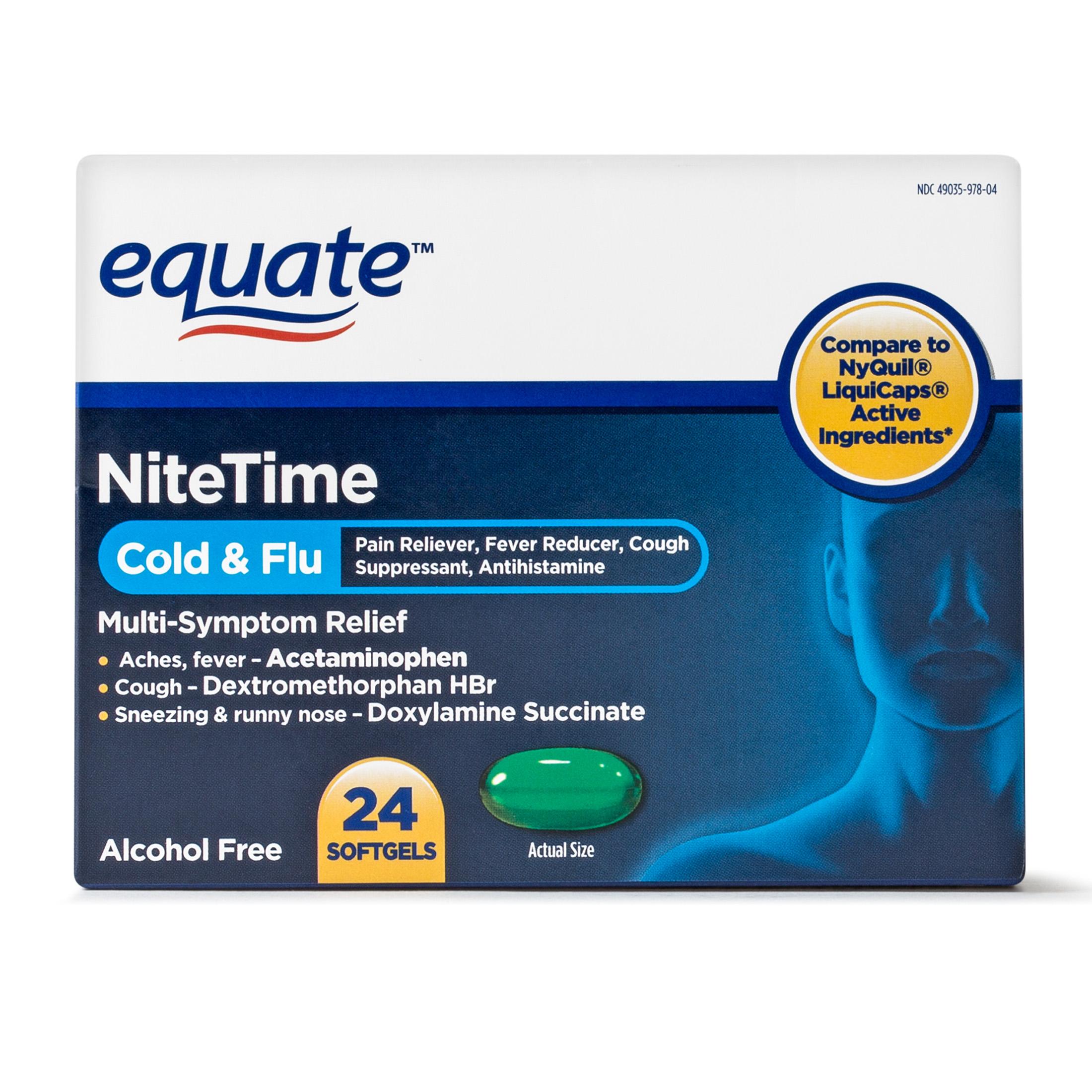 Equate NiteTime Cold & Flu Multi Symptom Acetaminophen Softgels, 325 mg, 24 Ct