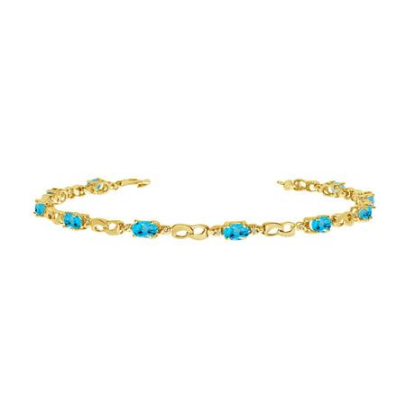 10K Yellow Gold Oval Blue Topaz and Diamond Link Bracelet