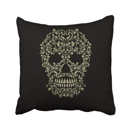 ARTJIA Black Sugar Skull Tattoo For Halloween Creative Day Dead Death Demon Drawing Graphic Pillowcase 18x18 - Halloween Drawing Skulls