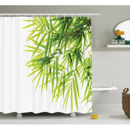 Bamboo House Decor Shower Curtain Set Leaf Ilration Icon For Wellbeing Health Fresh Purity