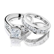 princess cut diamond engagement ring and wedding band set 12 carat ctw - Engagement Rings With Wedding Band