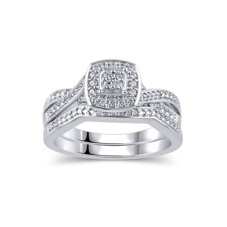 Religious Bridal Set - 1/5 Carat T.W. Diamond Sterling Silver Rhodium-Plated Bridal Set